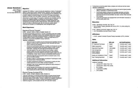 physical therapist resume sample monstercom