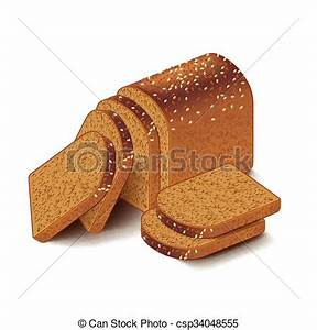 Whole grain sliced bread isolated on white vector. Whole ...