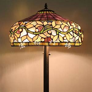 Upscale american tiffany stained glass floor lamp shade for Tryphena tiffany floor lamp