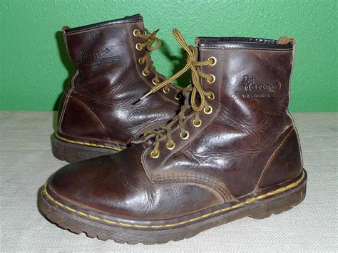 dr  marten brown leather  eye ankle punk work boots  mens    uk ebay