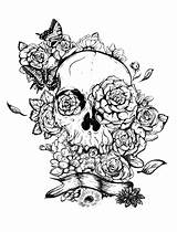 Skull Roses Coloring Tattoo Adult Tattoos Tatoo Pages sketch template