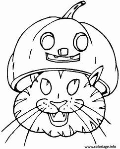 Citrouille D Halloween Dessin : coloriage une tete de chat sous une citrouille d halloween dessin ~ Nature-et-papiers.com Idées de Décoration