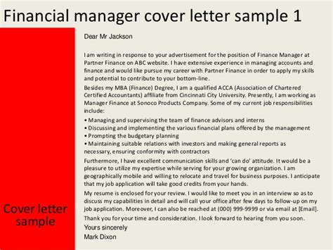 finance manager cover letter financial manager cover letter