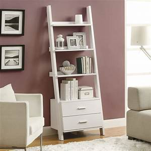 Monarch, 69, In, Ladder, Bookcase, With, 2, Storage, Drawers, -, White