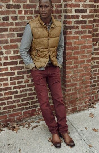 mens tan gilet grey flannel long sleeve shirt burgundy