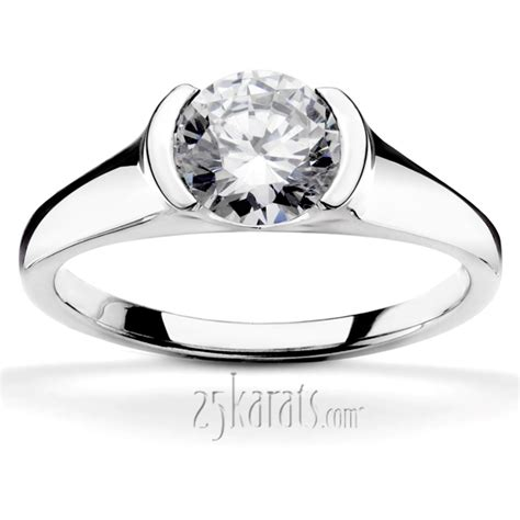 half bezel contemporary solitaire engagement ring