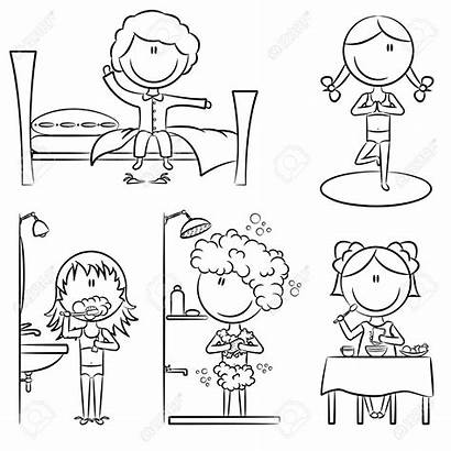 Routine Morning Clipart Daily Vector Coloring Wake