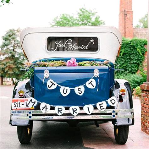 best just married wedding car decorations heavy