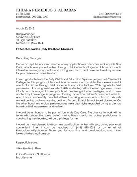 cover letter  fresher teacher job application cover