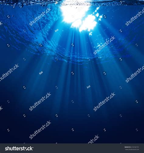 Abyss, Abstract Underwater Backgrounds With Sun Beam Stock