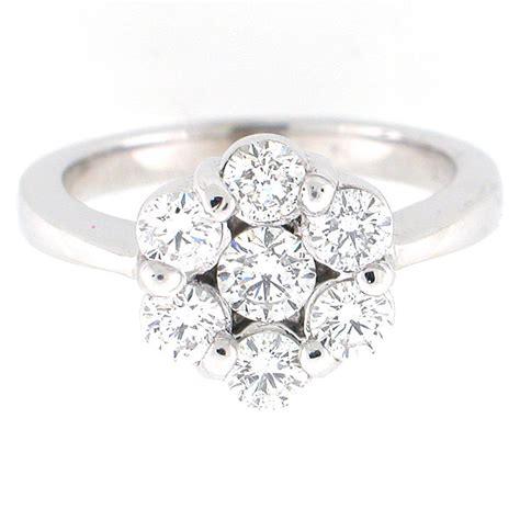 white gold diamond flower cluster ring  carats