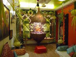 Ganapati Decoration In Living Room - Home Combo