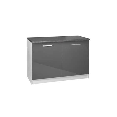 porte meuble cuisine meuble de cuisine bas 2 portes 120 cm tara laqué