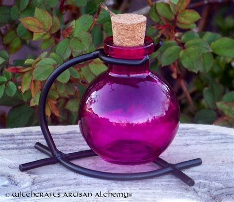 Fuschia Pink Round Glass Corked Potion Bottle w/ Stand ...