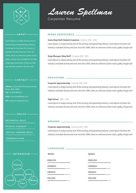 carpenter resume template   word excel