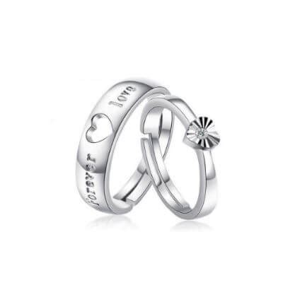 silver promise rings  couples  gift silver couple