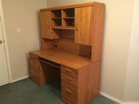 used computer desk with hutch quot reduced price quot 300 oak computer desk with hutch