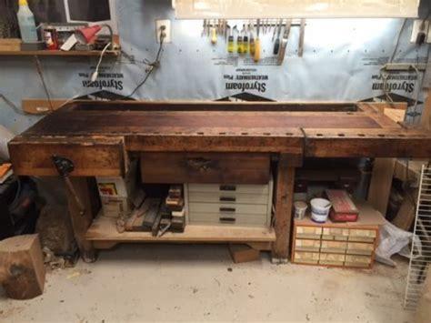 antique  ft carpenters workbench  shelf  vises