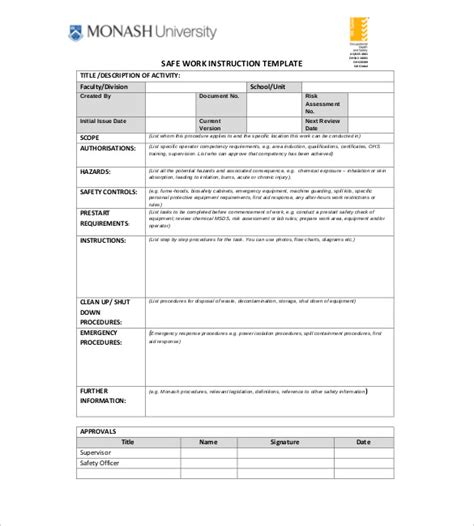 instruction templates   excel