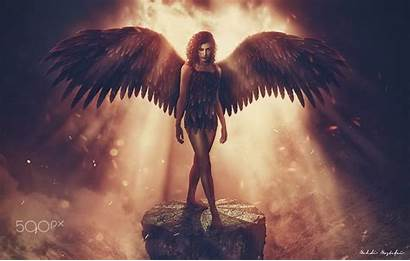 Angel Dark Wings Fantasy Digital 500px Legs