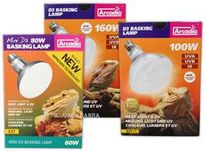arcadia d3 reptile basking lamp 80w 100w 160w heat light