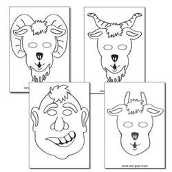 three billy goats gruff story printable the three billy goats gruff colouring in masks primary treasure chest