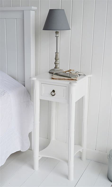 narrow tall white bedside table  drawer  england