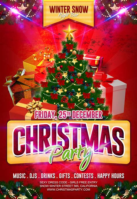 christmas party flyer template  behance