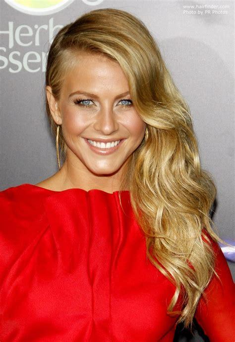 julianne hough wearing  long blonde hair swept   side