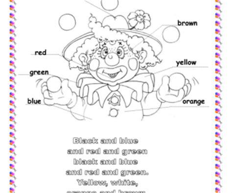 song worksheet colours clown