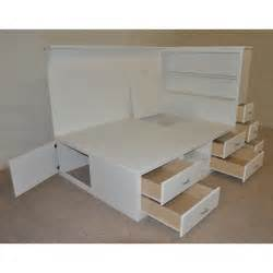 How To Build A Padded Bench by White Wooden Bed With Many Storage Drawers Combined With