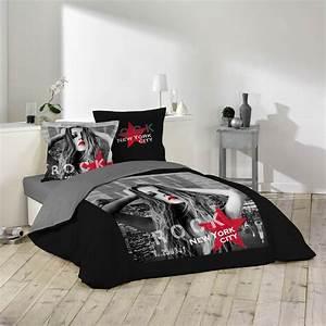 Parure De Lit Rouge : parure de lit 3 pi ces diva 220x240cm noir rouge ~ Teatrodelosmanantiales.com Idées de Décoration