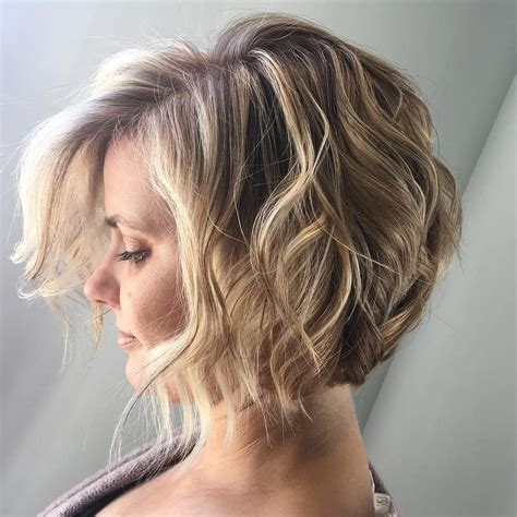 short angled bob wavy hair beach waves bohemian hair