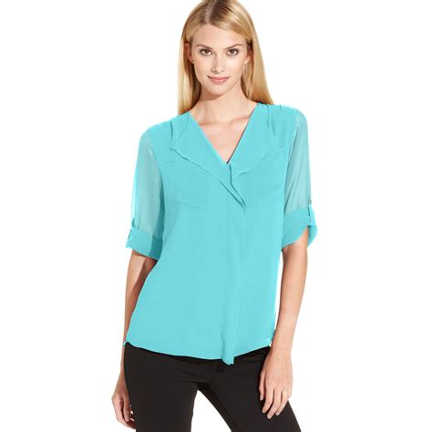 klein blouses calvin klein roll tab sleeve ruffle front blouse in green