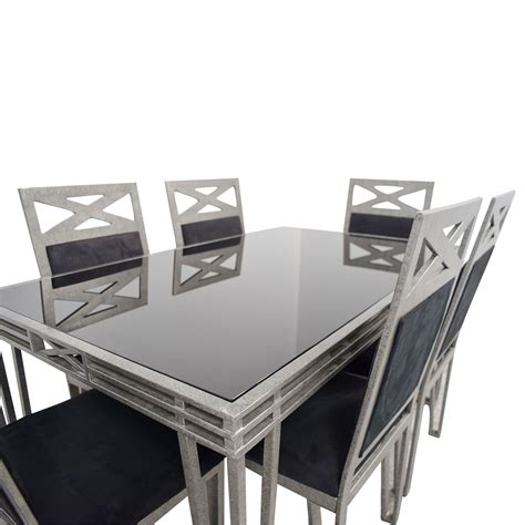 black and silver table ls 85 off black glass and silver base dining set tables