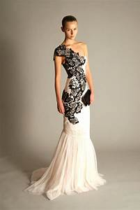 30 ideas of beautiful black and white wedding dresses With one shoulder mermaid wedding dress