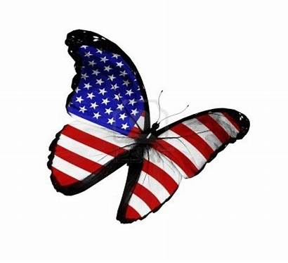Butterfly Flag American Flying Background Clipart Isolated