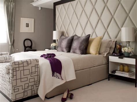 Angled Headboard for Transitional Bedroom Also Bed Scarf