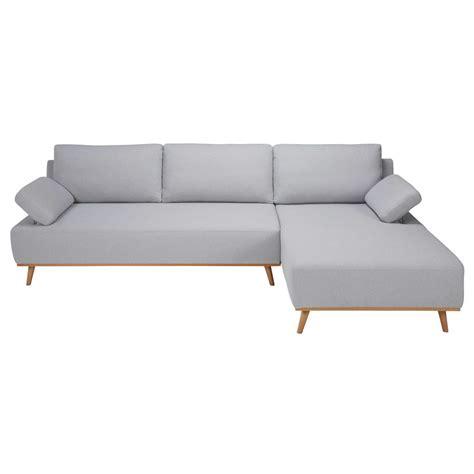 canap angle gris clair canapé d 39 angle droit 5 places en coton gris clair