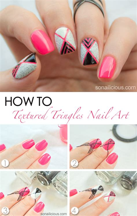 geometric nail art  textured nail polish tutorial