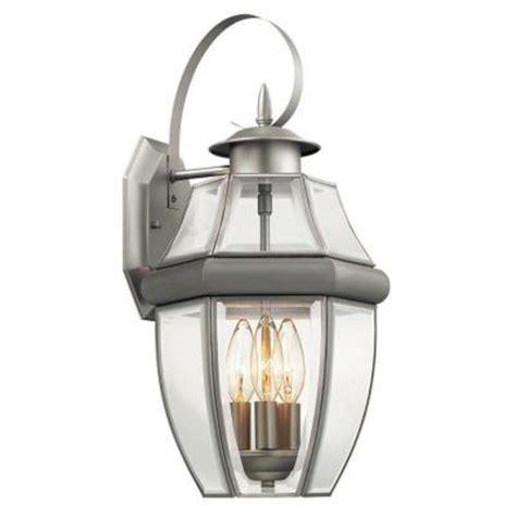 hton bay 3 light brushed nickel outdoor wall lantern