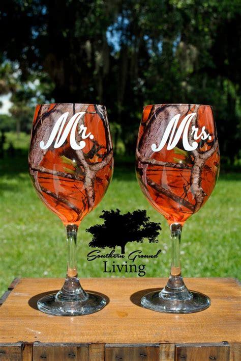items similar     orange camo wedding wine glass