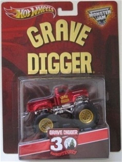 grave digger 30th anniversary monster truck toy wheels grave digger monster jam spectra flame red 30th