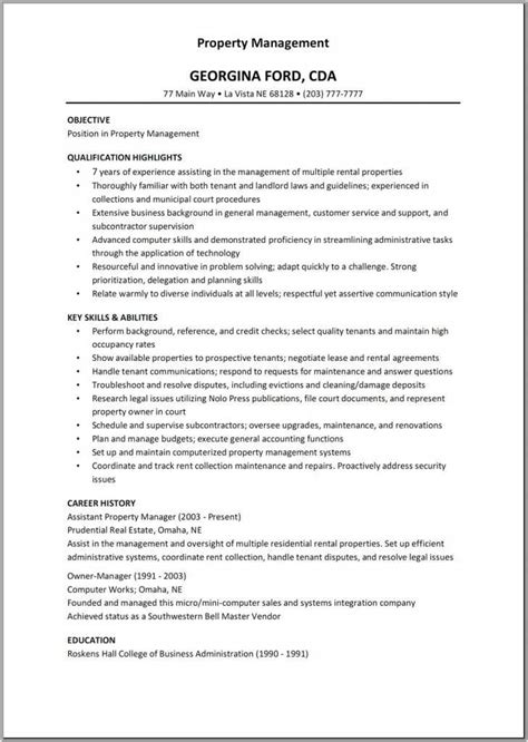 Management Resumes by 12 13 Residential Property Manager Resume Sles