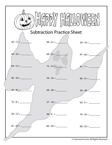 halloween addition  subtraction worksheets woo jr kids activities
