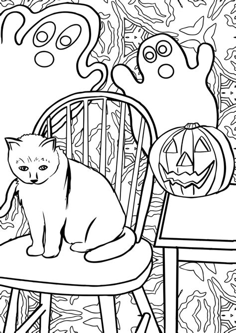 colouring halloween ghosts  cat rooftop post printables