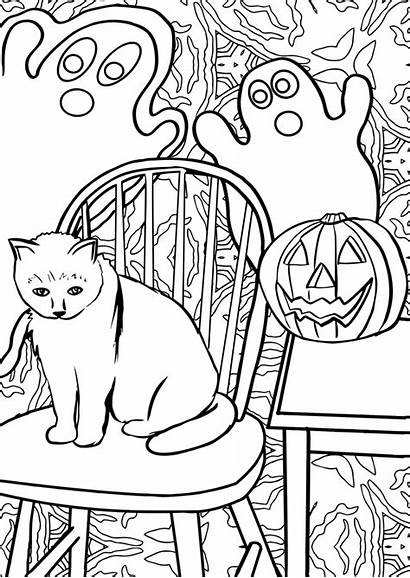 Halloween Cat Line Ghost Colouring Clipart Ghosts