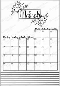 march 2019 printable bullet journal setup the planner