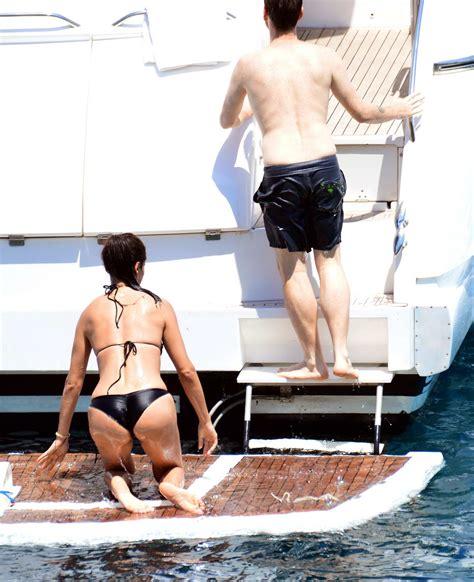 adriana lima in a black bikini on a yacht in bodrum turkey ...