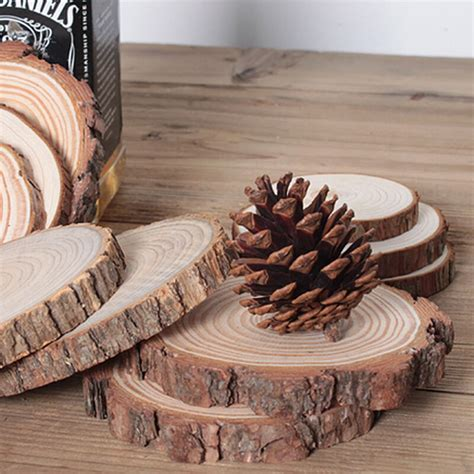 pcs unfinished wood cutouts wooden circles tree slices